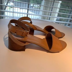 J Crew Ankle Strap Nude Tan Sandals 10 block heel